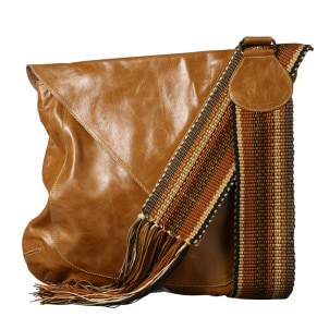 Leather messenger bag with a
