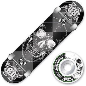 Skull skateboard deck and matching wheels