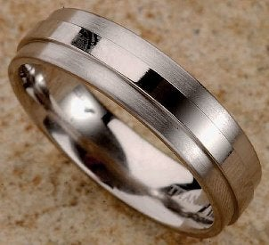 Men's titanium band ring with a polished, raised center