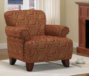 Classic red and beige autumn accent chair