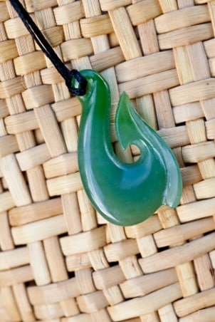 Men's green hook-shaped jade jewelry pendant