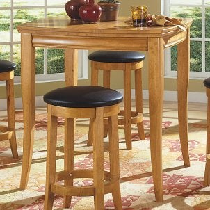 Wood bar table with padded stools