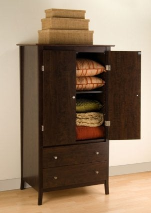 An organized armoire showing off