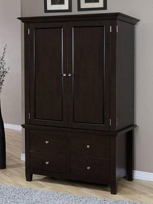 Classy dark wood wardrobe in a bedroom