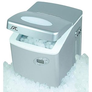 A portable ice maker making tons of ice