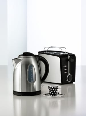 Stainless steel coffee carafe and toaster