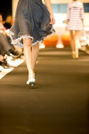 Runaway model showing off a designer skirt