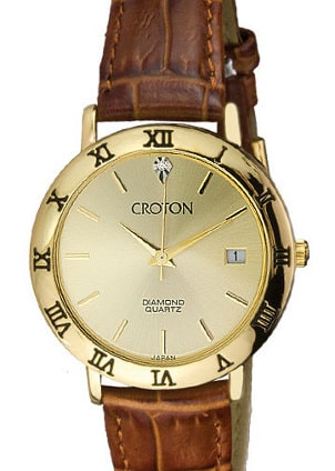 Handsome leather and gold Croton watch