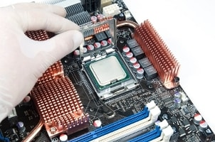 CPU chip installed on a motherboard
