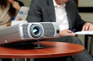 Office projector on a conference table