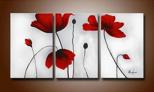 Poppy triptych wall art