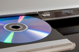 Blu-ray disc in a Blu-ray player