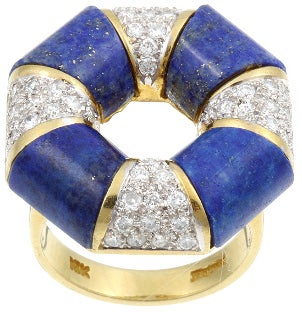 Beautiful lapis and diamond life preserver estate jewelry cocktail ring