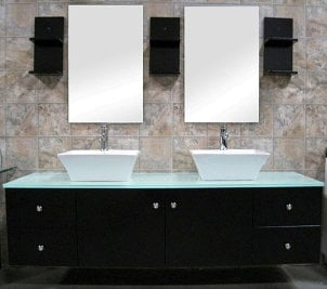 Modern Bathroom Cabinets on Modern Bathroom Vanity With Double Sinks