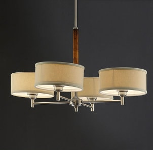 Chrome and wood shade chandelier