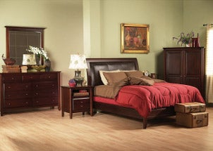 Contemporary low-profile bedroom set made of rich mahogany includes bed frame, dresser, mirror and two nightstands
