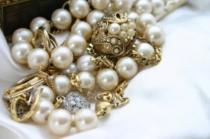 A beautiful antique pearl necklace in an estate jewelry collection