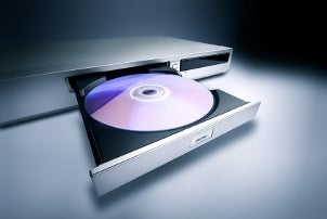 Slim DVD player with an open disc tray
