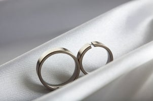 Two gorgeous titanium wedding bands represent the sleek nature of titanium jewelry