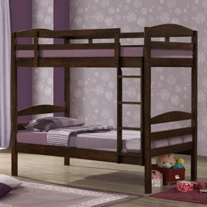 Bunk beds in a purple bedroom