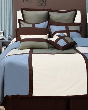 A comforter set with a striking geometric pattern