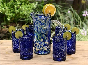 Set of 6 blue blown-glass tumblers