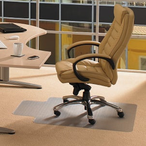 Tan office chair and desk in a contemporary office