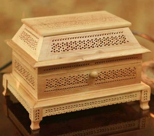 Beautiful, hand-carved wooden jewelry box