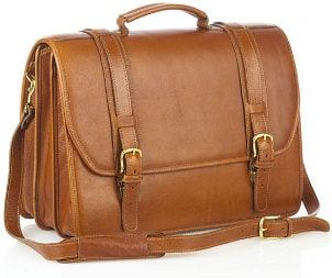 A handsome brown leather business case