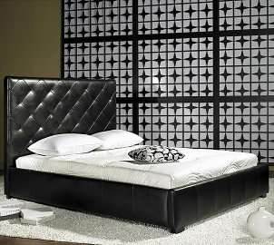 A gorgeous black leather bed is a great leather furniture option