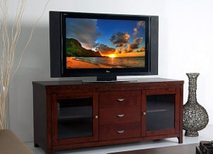 Big LCD TV displaying a sunset