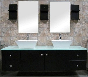 Black contemporary bath vanity with sink and drawers