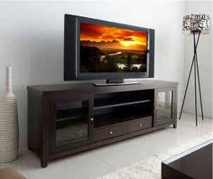 TV stand with flat screen TV and vivid picture