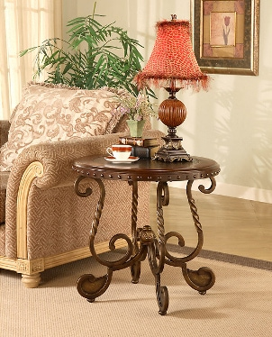 Nailhead end table in a living room