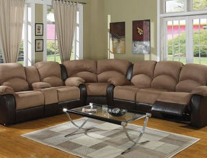 Microfiber sectional couch in living room