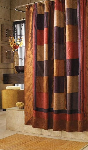 Elegant shower curtain with a curved shower curtain rod