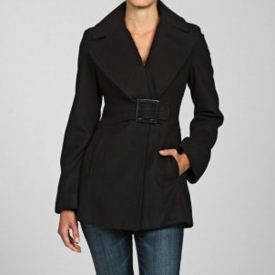 Woman wearing a black Jessica Simpson outerwear coat