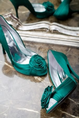 Beautiful emerald green satin heels