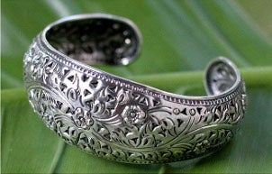 Beautifully polished handmade silver cuff bracelet