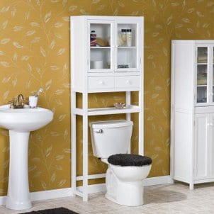 110126 White bathroom cabinets cupboards Bath Furniture