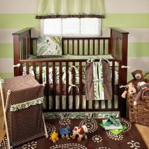 Decorated baby crib
