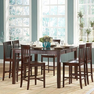 Wilma black mission back round pedestal 5 piece dining set for Complete dining room sets