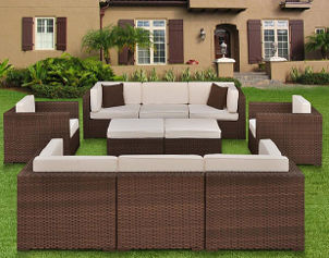 Contemporary brown wicker furniture updates front yard