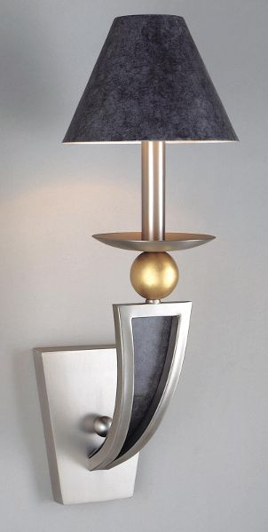 Stainless steel wall lamp features slate and gold accents