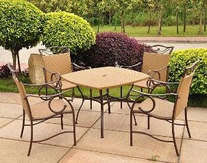 Tan wicker patio set adds elegance to patio