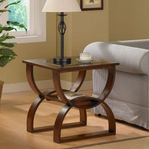 Large wooden and glass end table