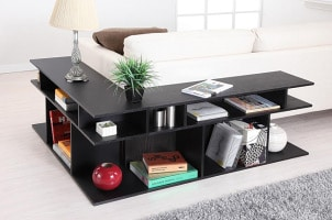 Dark wood sofa console table