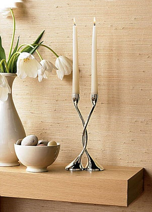 Polished nickel finish candle holders
