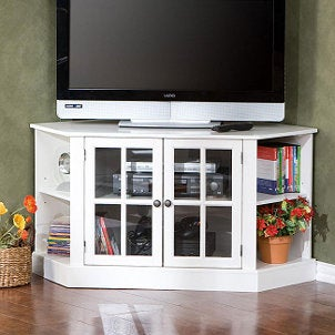 Black corner TV stand with flat screen TV