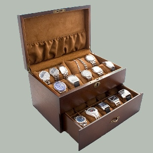 Wooden watch box with lots of storage